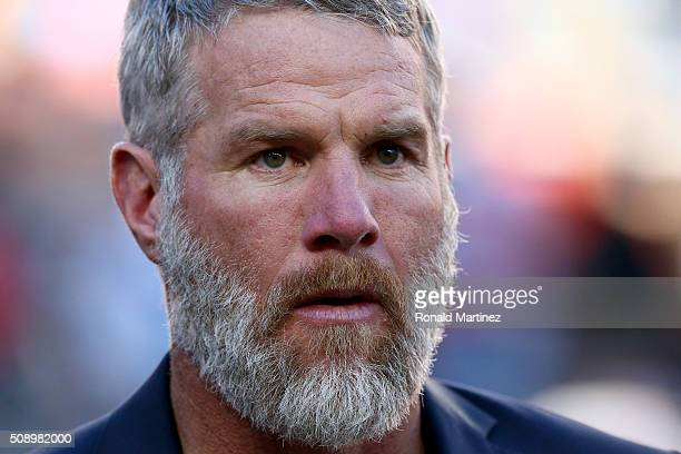 Former NFL player Brett Favre looks on prior to Super Bowl 50 between the Denver Broncos and the Carolina Panthers at Levi's Stadium on February 7...