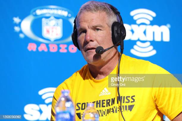 Former NFL player Brett Favre speaks onstage during day 3 of SiriusXM at Super Bowl LIV on January 31, 2020 in Miami, Florida.