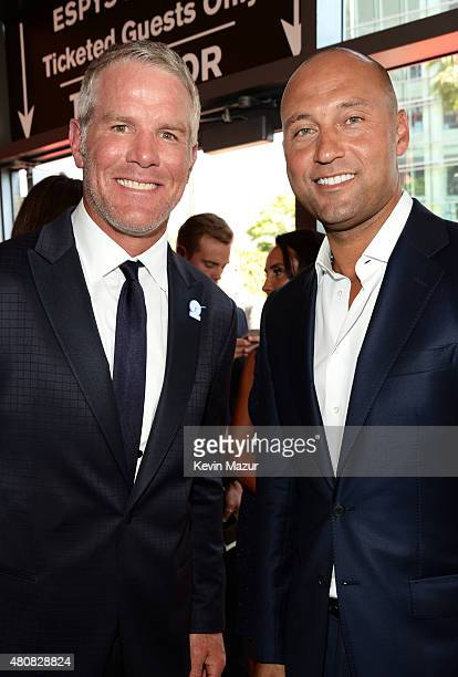 Former NFL player Brett Favre with former MLB player Derek Jeter attend The 2015 ESPYS at Microsoft Theater on July 15 2015 in Los Angeles California