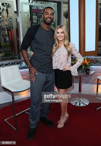 Former NFL player Calvin Johnson and dancer/TV personality Lindsay Arnold visit Hollywood Today Live at W Hollywood on November 16 2016 in Hollywood...