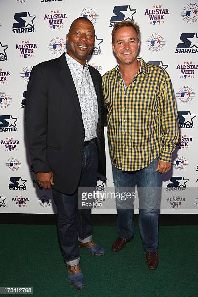 Former NFL player Carl Banks and former MLB pitcher Al Leiter attend the Starter x MLB AllStar Launch Party at MLB Fan Cave on July 13 2013 in New...