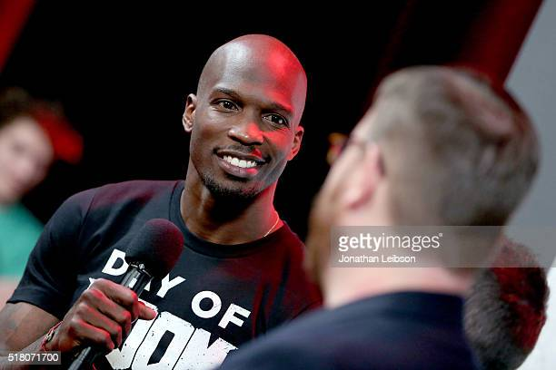 Former NFL player Chad Ochocinco Johnson attends as athletes and YouTube stars team for DOOM Videogame Tournament at Siren Studios on March 29 2016...