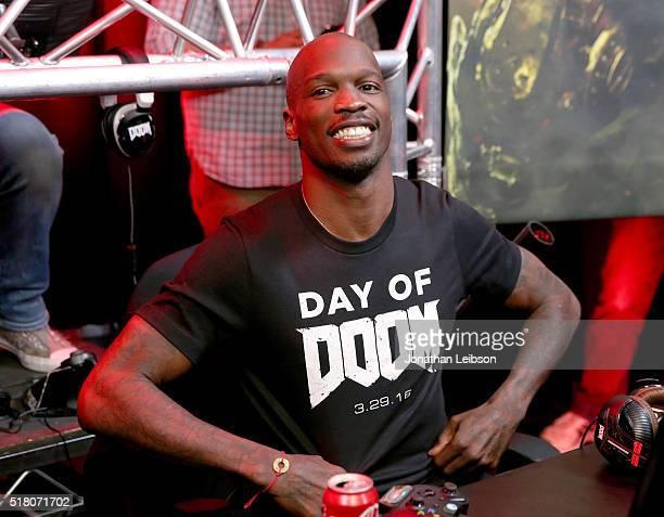 Former NFL player Chad 'Ochocinco' Johnson attends as athletes and YouTube stars team for DOOM Videogame Tournament at Siren Studios on March 29 2016...