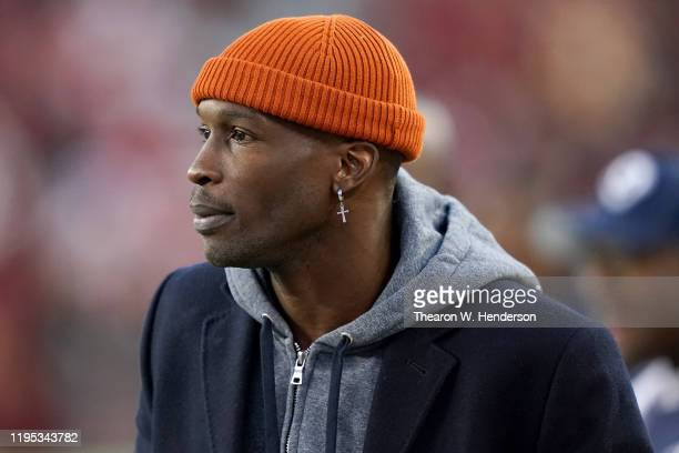 Former NFL player Chad Ochocinco Johnson looks on during warmups before the Los Angeles Rams and San Francisco 49ers game at Levi's Stadium on...