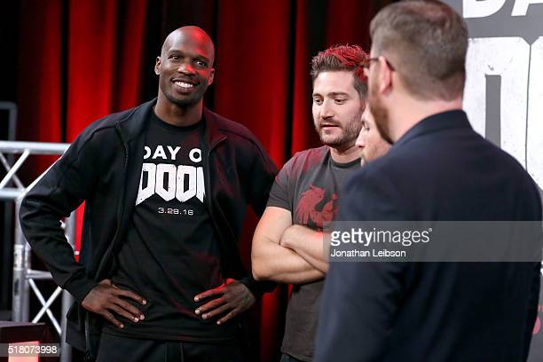 Former NFL player Chad Ochocinco Johnson YouTube influencer Adam Kovic and hosts Tyler Coe and Jack Pattillo attend as athletes and YouTube stars...