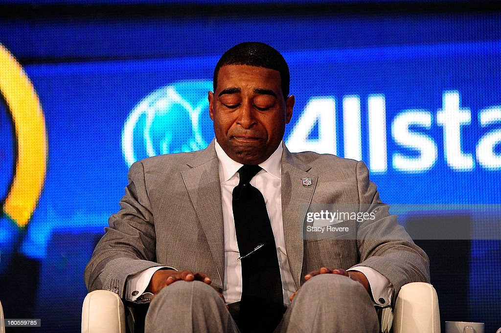 Former NFL player Chris Carter becomes emotional after being elected into the Pro Football Hall of Fame during the Pro Football Hall of Fame Press Conference at the New Orleans Convention Center on February 2, 2013 in New Orleans, Louisiana.