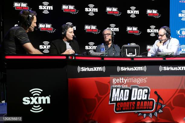 Former NFL player Danny Kanell, NFL official Gene Steratore, NFL official Mike Pereira and SiriusXM host Adam Schein speak onstage during day 3 of...
