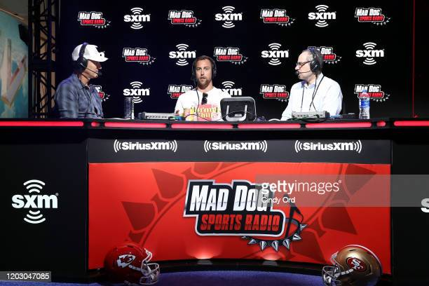 Former NFL player Danny Kanell NFL wide receiver Adam Thielen of the Minnesota Vikings and SiriusXM host Adam Schein speak onstage during day 2 of...
