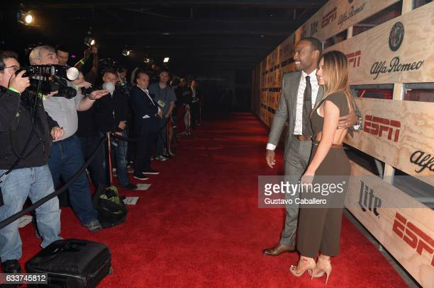 Former NFL player Darren Woodson and Tiffany Axner attend the 13th Annual ESPN The Party on February 3 2017 in Houston Texas