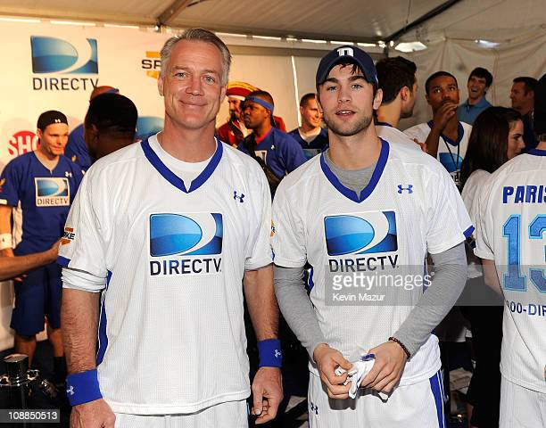 Former NFL player Daryl Johnston and actor Chace Crawford pose during DIRECTV's Fifth Annual Celebrity Beach Bowl at Victory Park on February 5 2011...