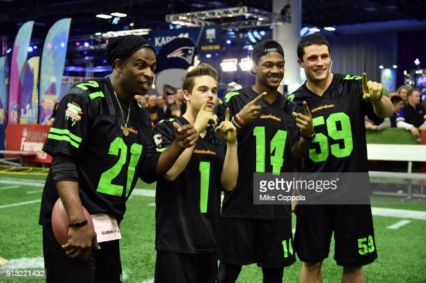 Former NFL player Deion Sanders actor Ricardo Hurtado and NFL players Stefon Diggs and Luke Kuechly attend the Superstar Slime Showdown taping at...