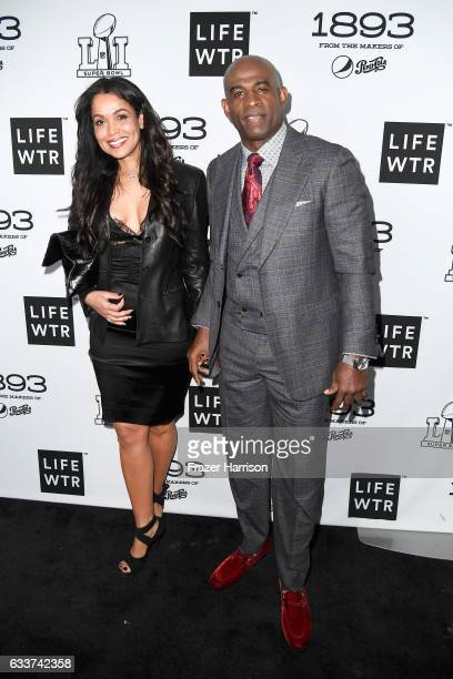 Former NFL player Deion Sanders and businesswoman Tracey Edmonds attend LIFEWTR Art After Dark including 1893 at Club Nomadic during Super Bowl LI...