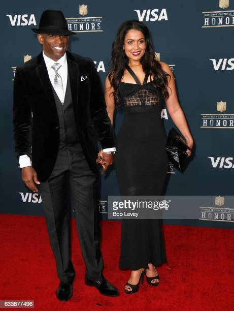 Former NFL player Deion Sanders and Tracey Edmonds attend 6th Annual NFL Honors at Wortham Theater Center on February 4 2017 in Houston Texas