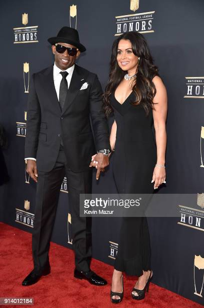 Former NFL Player Deion Sanders and Tracey Edmonds attend the NFL Honors at University of Minnesota on February 3 2018 in Minneapolis Minnesota