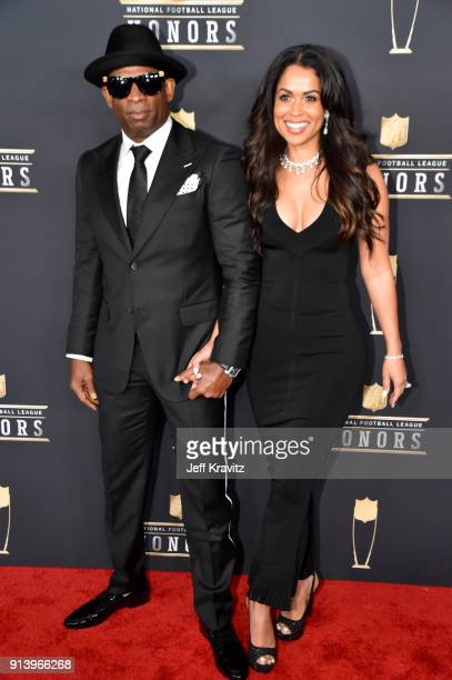 Former NFL Player Deion Sanders and Tracey Edmonds attends the NFL Honors at University of Minnesota on February 3 2018 in Minneapolis Minnesota