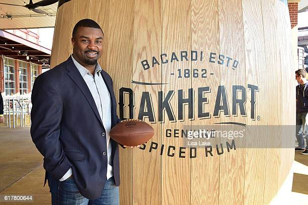 Former NFL player for the Philadelphia Eagles Brian Westbrook attends the Oakheart Genuine Spiced Rum Event at XFINITY Live Philadelphia on October...