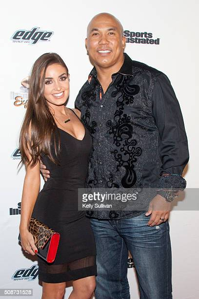 Former NFL player Hines Ward and Lindsey GeorgalasWard arrive on the red carpet at the Sports Illustrated Friday Night Party on February 5 2016 in...