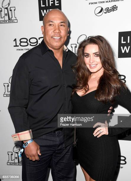 Former NFL player Hines Ward and Lindsey GeorgalasWard attend LIFEWTR Art After Dark including 1893 at Club Nomadic during Super Bowl LI Weekend on...