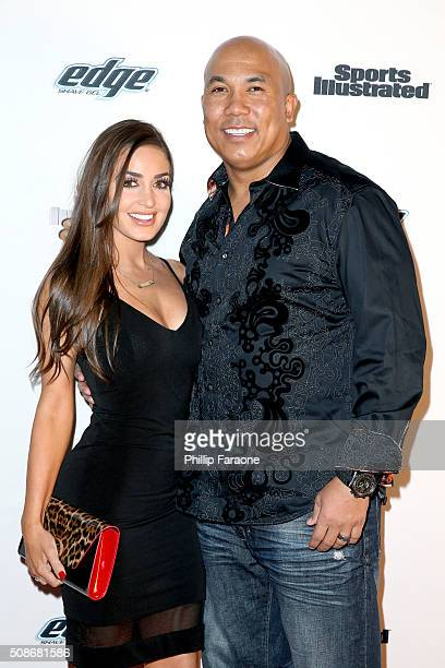 Former NFL player Hines Ward and Lindsey GeorgalasWard attend the Sports Illustrated Experience Friday Night Party on February 5 2016 in San...