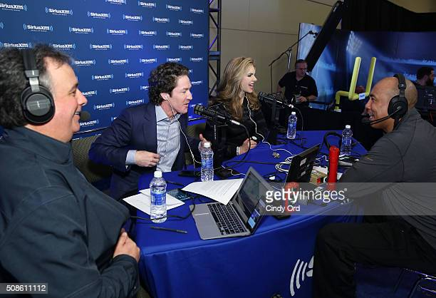 Former NFL player Hines Ward pastor Joel Osteen and his wife and copastor Victoria Osteen visit the SiriusXM set at Super Bowl 50 Radio Row at the...