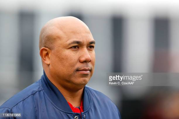 Former NFL player Hines Ward watches action prior to an Alliance of American Football game between the Birmingham Iron and the Salt Lake Stallions at...