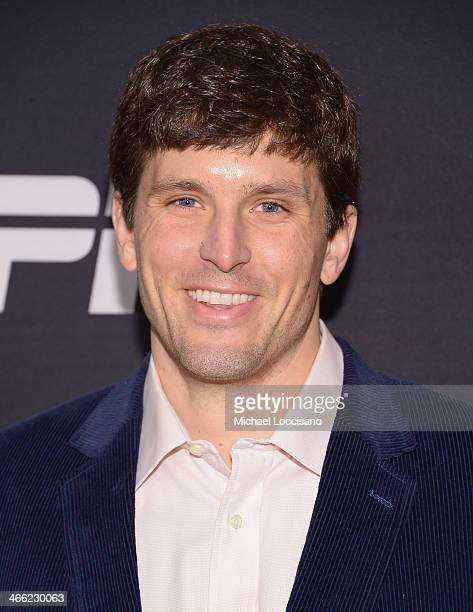 Former NFL player Hunter Hillenmeyer atthens ESPN The Party at Basketball City Pier 36 South Street on January 31 2014 in New York City