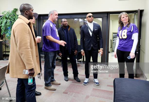 Former NFL player Jarred Fayson Starkey Hearing Foundation Executive Director of Philanthropy Brady Forseth NFL players C J Anderson and Andre...