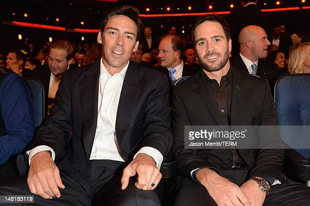 Former NFL player Jason Sehorn and NASCAR Driver Jimmie Johnson in the audience during the 2012 ESPY Awards at Nokia Theatre LA Live on July 11 2012...
