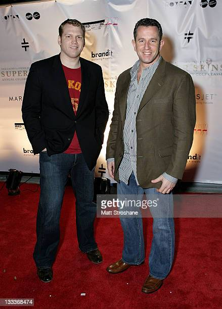 Former NFL Player Jay Fiedler and guest arrive at the Super Skins Kickoff Party hosted by Nick Lachey and Jimmie Johnson at the Hula Bay Club on...