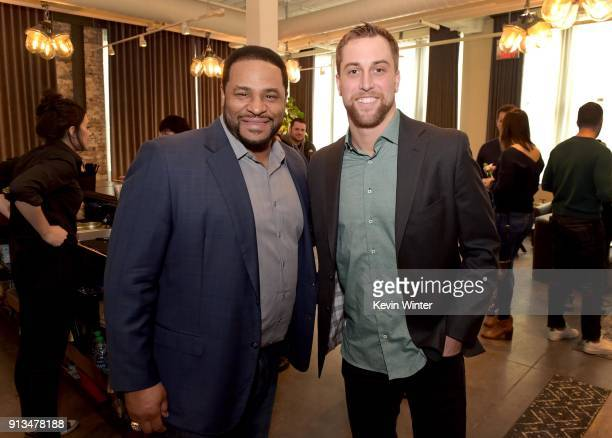 Former NFL player Jerome Bettis and NFL player Adam Thielen attend the Annual Bootsy Bellows Big Game Experience with McDonalds on February 2 2018 in...