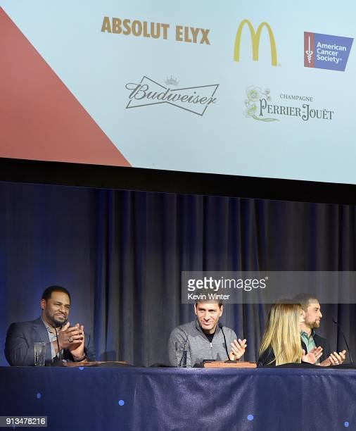 Former NFL player Jerome Bettis TV personalities Mike Greenberg and Samantha Ponder and NFL player Adam Thielen speak onstage at the Annual Bootsy...