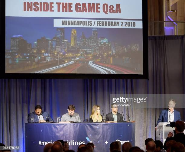 Former NFL player Jerome Bettis TV personalities Mike Greenberg and Samantha Ponder NFL player Adam Thielen and moderator Dave Schwartz speak onstage...