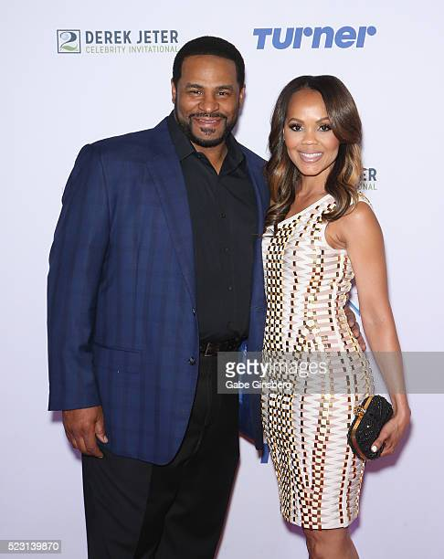 Former NFL player Jerome The Bus Bettis and his wife Trameka Boykin attend the Derek Jeter Celebrity Invitational gala at the Aria Resort Casino on...