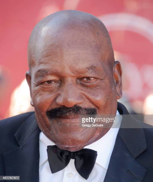 Former NFL player Jim Brown arrives at the 2014 ESPY Awards at Nokia Theatre LA Live on July 16 2014 in Los Angeles California