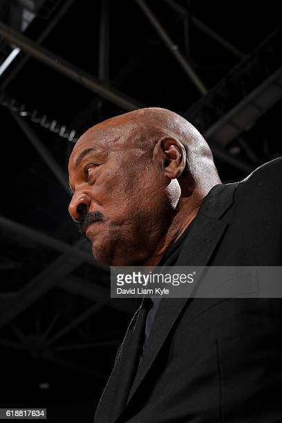 Former NFL player Jim Brown attends the New York Knicks game against the Cleveland Cavaliers on October 25 2016 at Quicken Loans Arena in Cleveland...