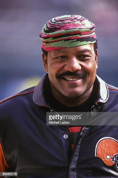 Former NFL player Jim Brown before a Cleveland Browns football game against the Houston Oilers on November 21 1993 at Cleveland Municipal Stadium in...