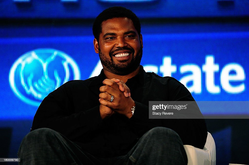 Former NFL player Jonathan Ogden enjoys a light moment after being elected into the Pro Football Hall of Fame during the Pro Football Hall of Fame Press Conference at the New Orleans Convention Center on February 2, 2013 in New Orleans, Louisiana.