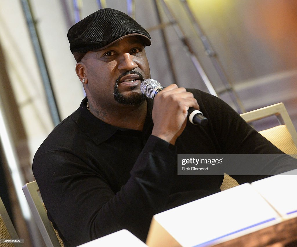 Former NFL player Keith Hamilton speaks at the Super Bowl Gospel Celebration press conference at Super Bowl XLVIII Media Center, Sheraton Times Square on January 30, 2014 in New York City.