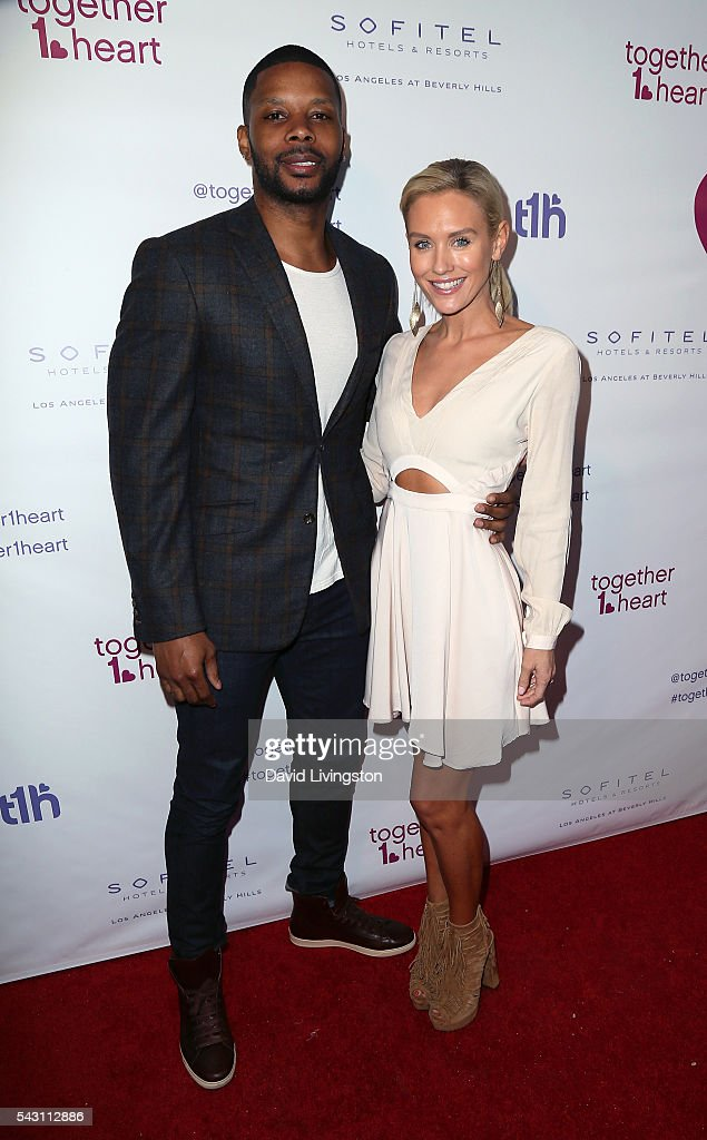 Former NFL player Kerry Rhodes (L) and actress Nicky Whelan attend together1heart launch party hosted by AnnaLynne McCord at Sofitel Hotel on June 25, 2016 in Los Angeles, California.