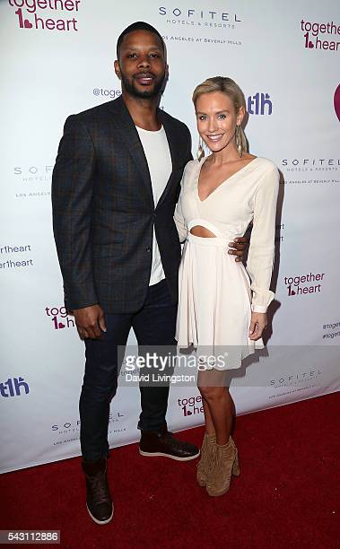 Former NFL player Kerry Rhodes and actress Nicky Whelan attend together1heart launch party hosted by AnnaLynne McCord at Sofitel Hotel on June 25...