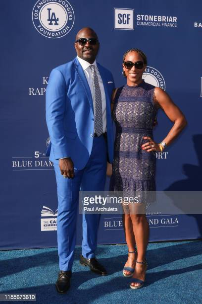 Former NFL Player Marcellus Wiley and Annemarie Wiley attend the 5th Annual Blue Diamond Foundation at Dodger Stadium on June 12 2019 in Los Angeles...