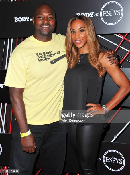 Former NFL player Marcellus Wiley and wife Annemarie Wiley attend BODY At The ESPYS PreParty at Avalon Hollywood on July 11 2017 in Los Angeles...