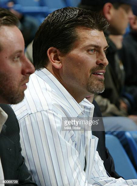 Former NFL player Mark Schlereth attends the New York Islanders against the Pittsburgh Penguins on February 26 2008 at Nassau Coliseum in Uniondale...
