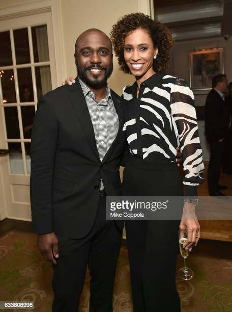 Former NFL player Marshall Faulk and TV personality Sage Steele attend the #Culinary Kickoff at Brennan's Restaurant on February 2 2017 in Houston...
