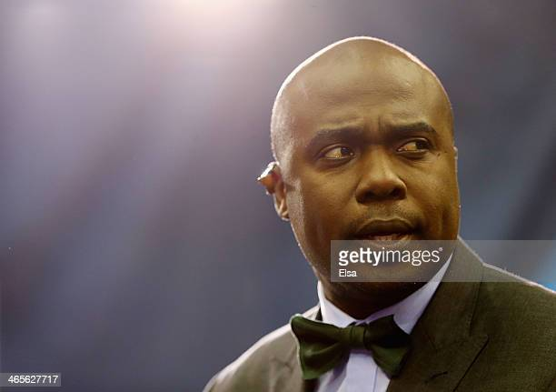 Former NFL player Marshall Faulk looks on during Super Bowl XLVIII Media Day at the Prudential Center on January 28 2014 in Newark New Jersey Super...