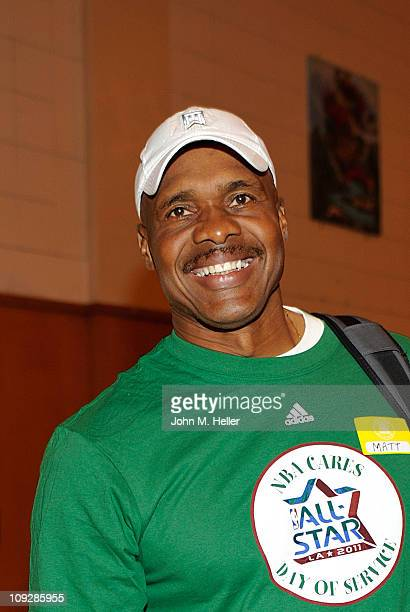 Former NFL player Matt Blair attends the NBA Cares AllStar Day of Service with City Year at Virgil Middle School on February 18 2011 in Los Angeles...