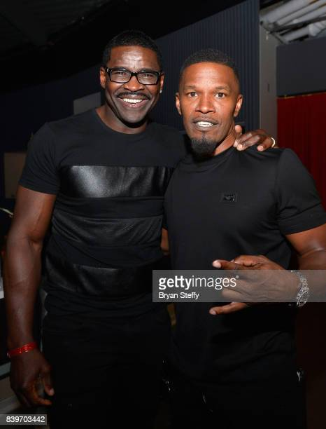 Former NFL player Michael Irvin and actor Jamie Foxx attend the Showtime WME IME and Mayweather Promotions VIP PreFight party for Mayweather vs...