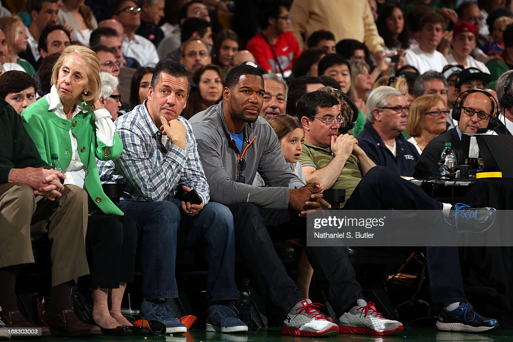 Former NFL player Michael Strahan during the game between the New York Knicks and Boston Celtics in Game Four of the Eastern Conference Quarterfinals during the 2013 NBA Playoffs on April 28, 2013 at the TD Garden in Boston.