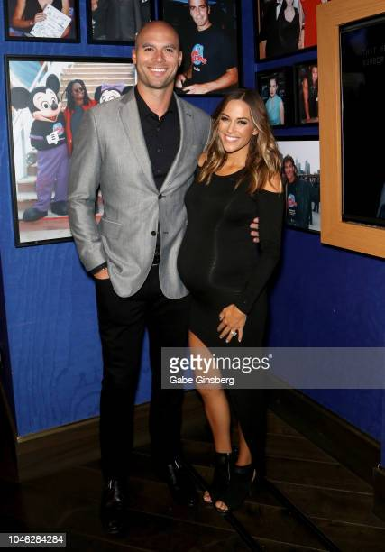 Former NFL player Mike Caussin and his wife actress and singer Jana Kramer arrive at Cafe Hollywood at Planet Hollywood Resort Casino on October 5...