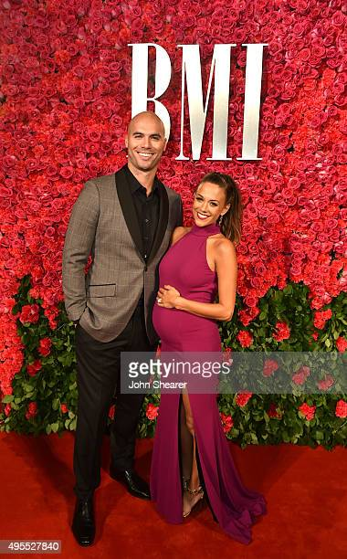 Former NFL player Mike Caussin and singer Jana Kramer attend the 63rd Annual BMI Country awards on November 3, 2015 in Nashville, Tennessee.
